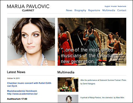 Marija Pavlović's website screenshot
